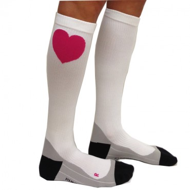 Compression Socks - White with Heart