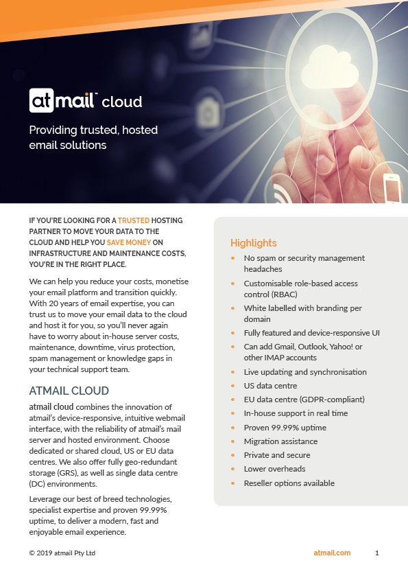 atmail cloud product brochure