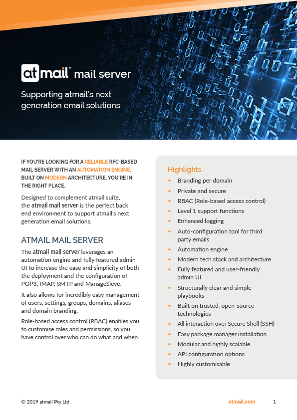 atmail mail server product brochure