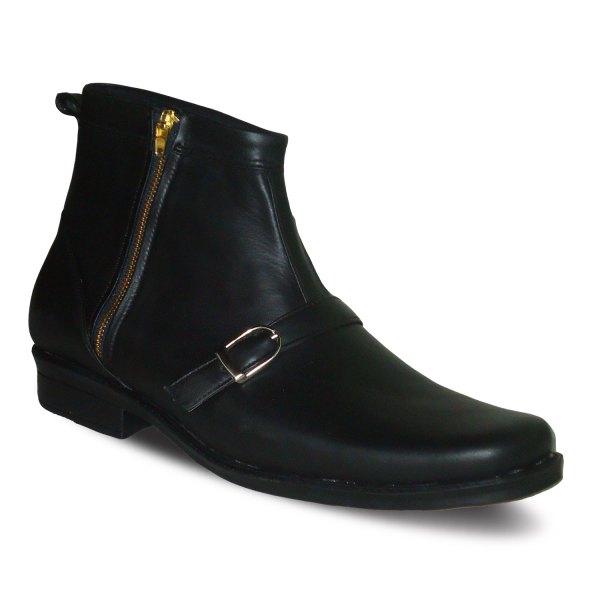 sepatu kulit pria midboots formal B01 black - atmal