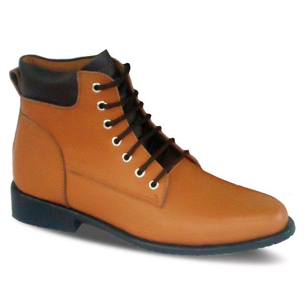sepatu kulit pria derby boots B09 tan brown - atmal