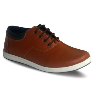 sepatu kulit sneakers oxford D06 red brick brown - atmal