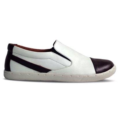 sepatu kulit sneakers D10 white brown - samping - atmal