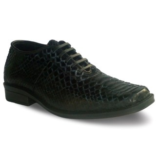 sepatu kulit ular python pria python AP02 black - atmal
