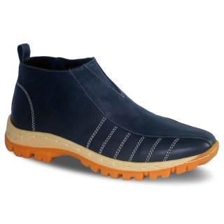 sepatu kulit pria casual midboots C18 navy blue - atmal