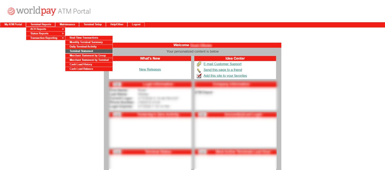 WorldPay Portal Dashboard - Terminal Statement