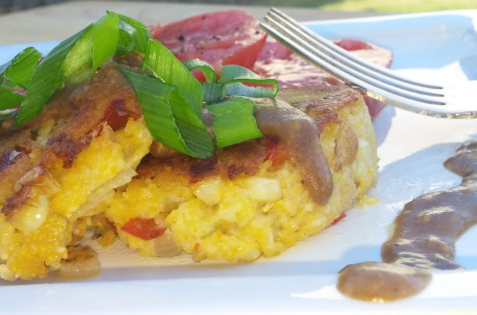 Triple Pepper Grit Cakes with Red-Eye Gravy (Vegan and Gluten Free)