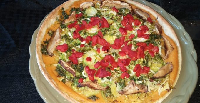 Gourmet Mushroom and Shaved Brussels Sprouts Pizza with Sage Pesto