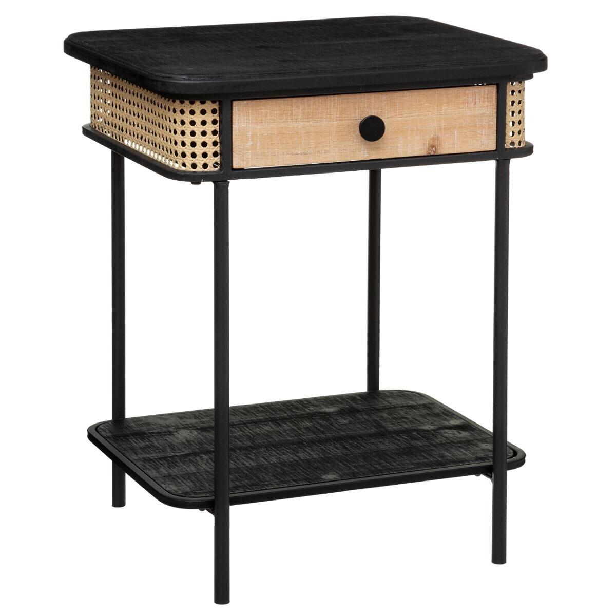 table de chevet arbela noir et bois