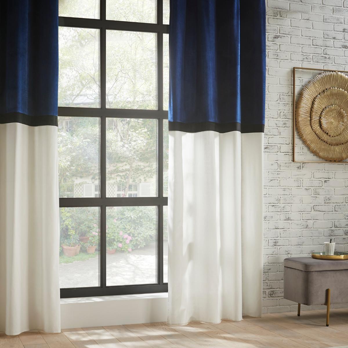rideau a œillets hotel bleu et blanc 140x260 cm