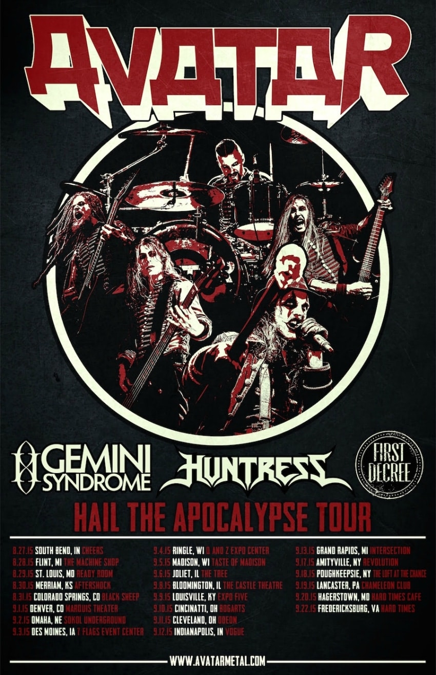 The official Hail The Apocalypse Tour 2015 poster