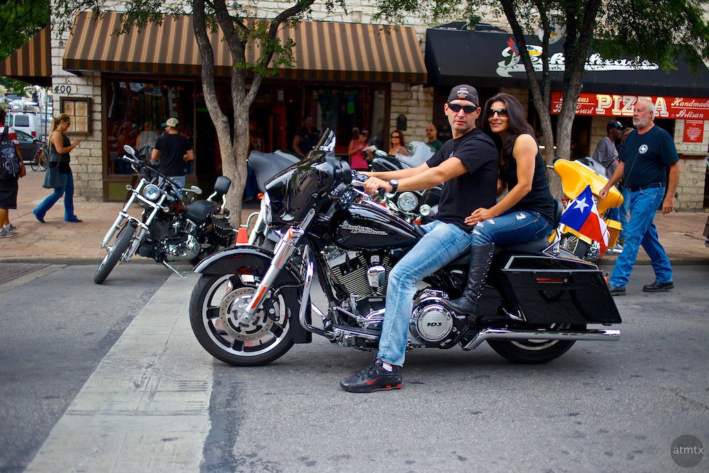 Harley Couple on 6th, 2013 ROT Rally - Austin, Texas