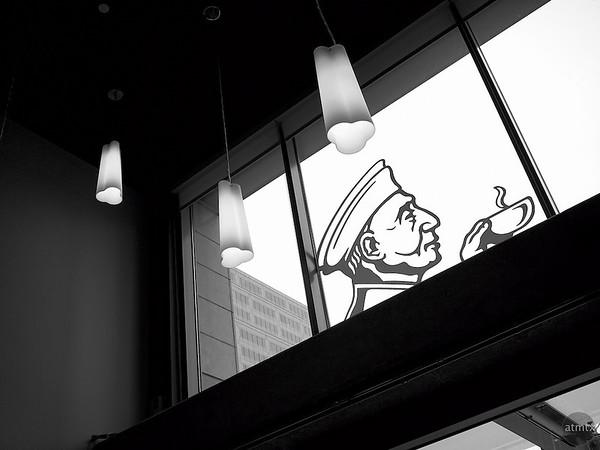 Window Logo, Caffe Medici - Austin, Texas