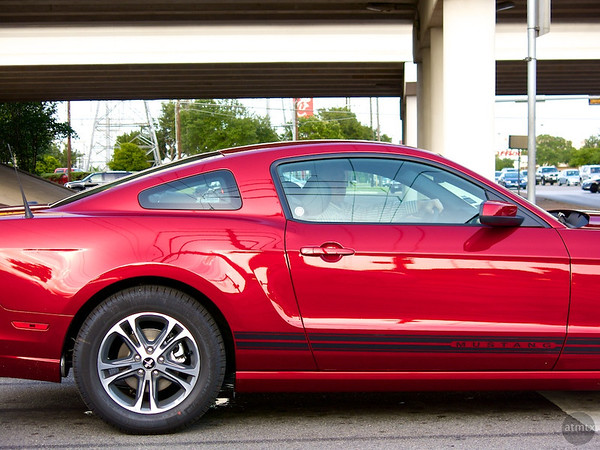 Glowing Red Mustang, Frontage Road - Austin, Texas