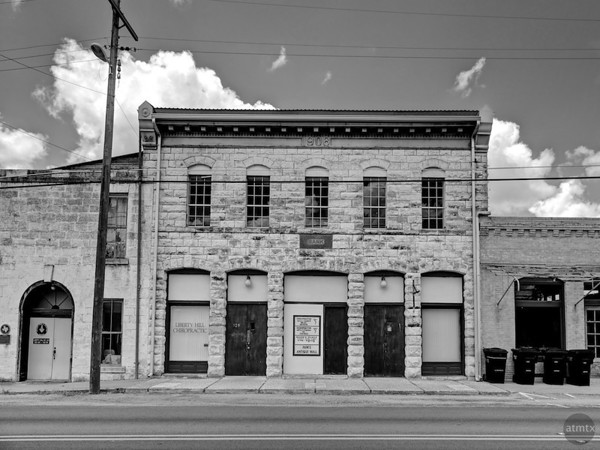 The Bank Building - Liberty Hill, Texas (black and white)