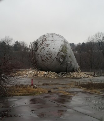 The Westinghouse atom smasher, shortly after it was torn down, January 20, 2015. © Gloria Rogulin Blake.