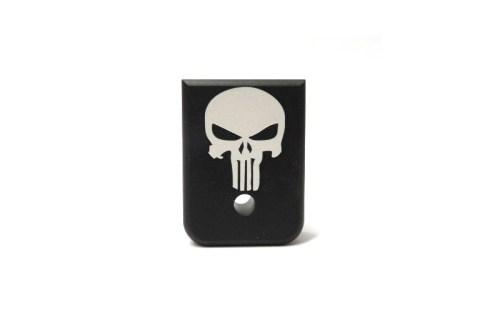 Punisher engraved heavy base plate Glock
