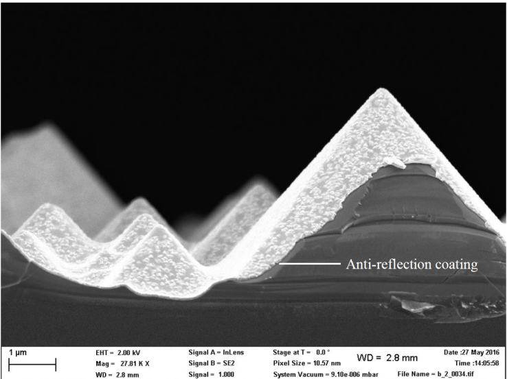 SEM image of pyramid texture on silicon solar cell