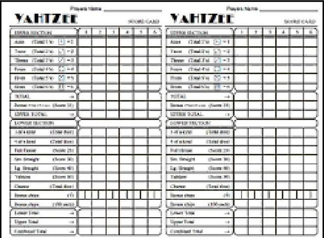 graphic about Printable Yahtzee Score Card Pdf called yahtzee ranking card on the internet