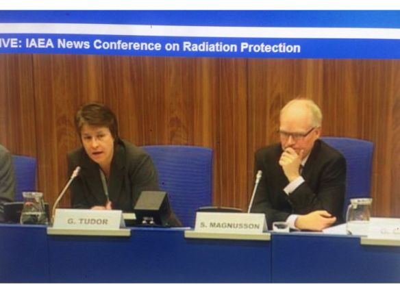 """IAEA Public Information Officer Gill Tudor and Sigurdur Magnusson, Director the Icelandic Radiation Safety Authority speak after the Feb. 17-21 closed-door meeting on """"Promoting Confidence and Understanding"""" in radiation protection following the Fukushima Daiichi meltdown"""