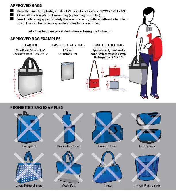 L.A. Coliseum approved bags