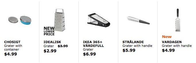 IKEA cheese graters