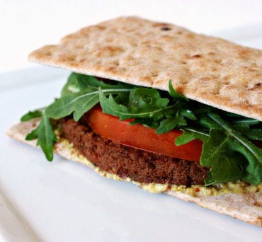 Black Bean Burger on Lavash