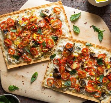 Lavash Pizzettas with White Bean-Ricotta