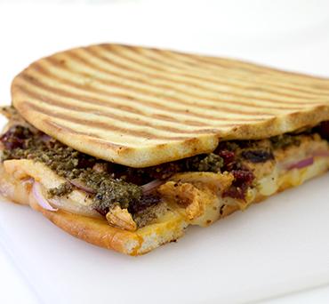 Chicken Pesto Naan Panini