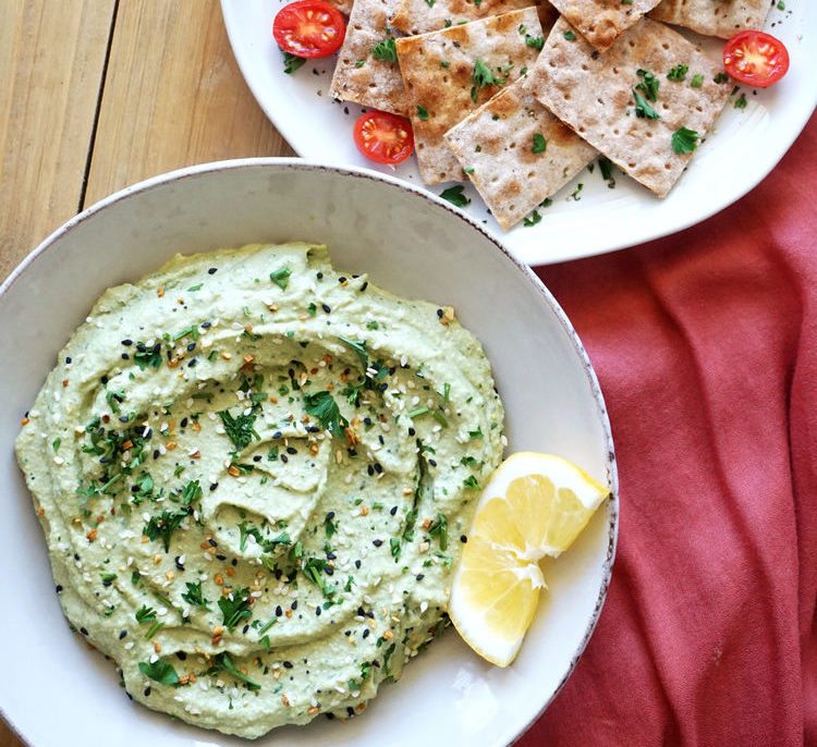 Lavash Chips with Lemon Parsley Dip