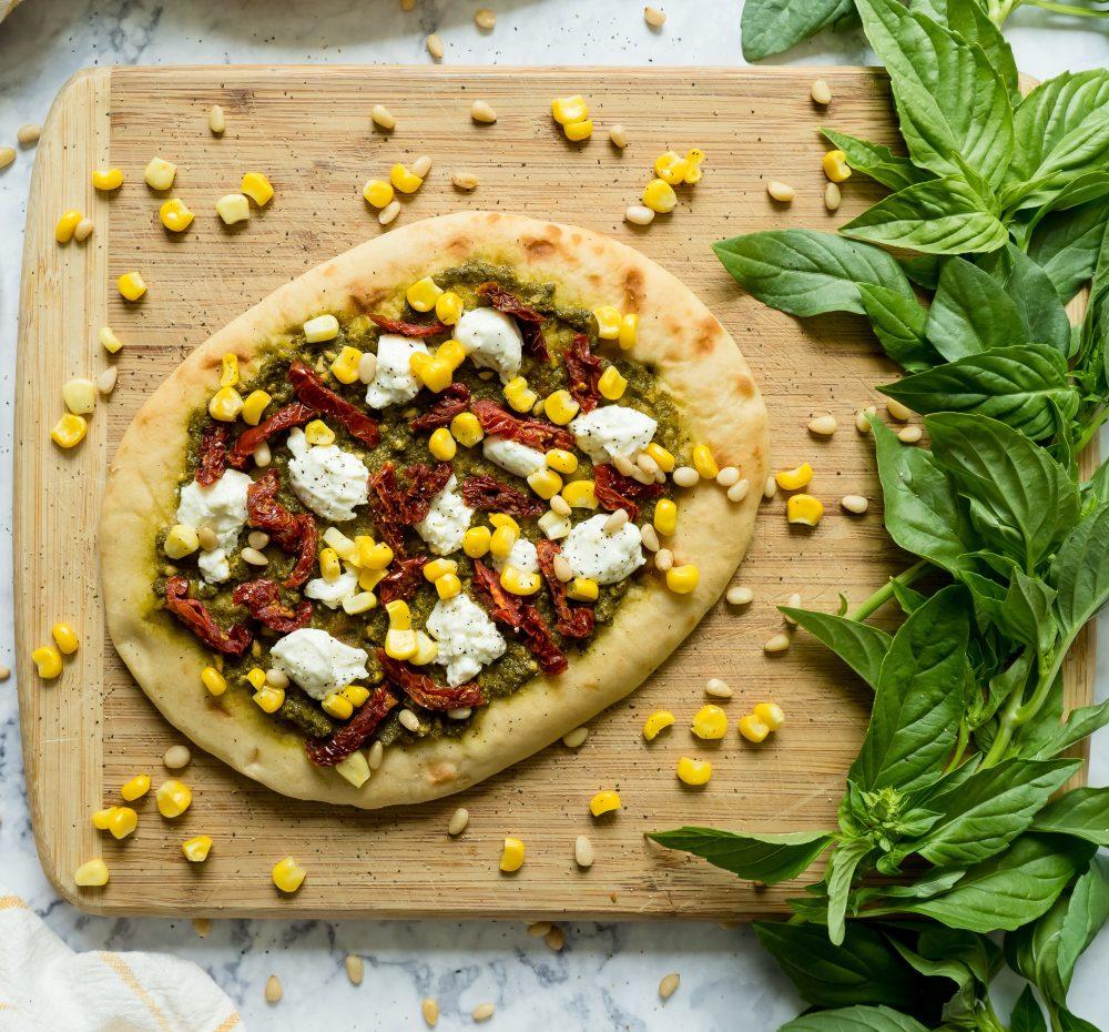 Pesto, Ricotta, and Sweet Corn Naan Pizza