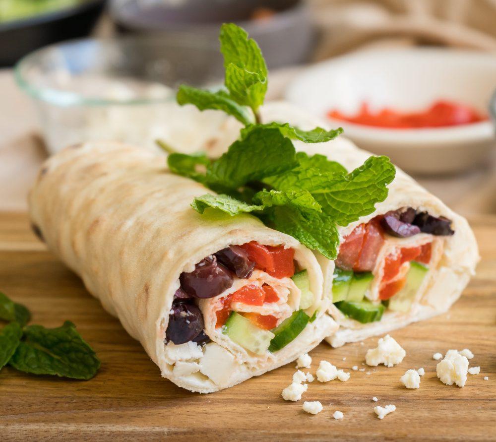 Greek Salad Lavash Wrap