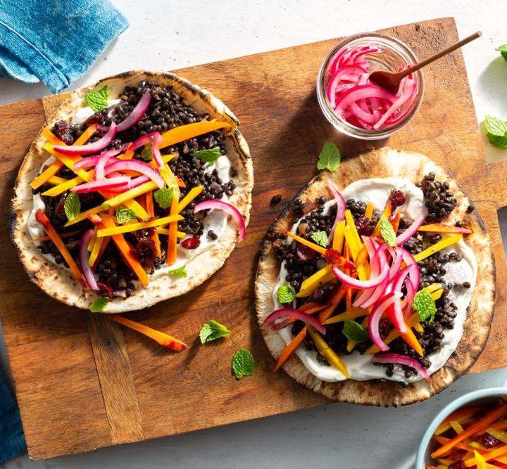 Lentil Pitas with Carrot-Cranberry Salad