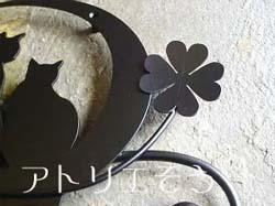 猫+月+薔薇妻飾り。ステンレス製妻飾り。