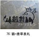 猫のモチーフ妻飾り 。猫と唐草のモチーフを組み合わせたロートアイアン風のステンレス製オーダー表札の写真