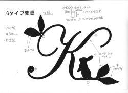 イニシャルK+うさぎ妻飾り。ロートアイアン風錆に強いアルミ製妻飾りです。