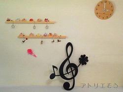 おしゃれで人気のロートアイアン風アルミ製オリジナル妻飾りJタイプに8分音符のモチーフを加えた設置写真