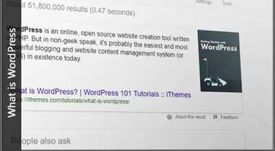 Screenshot of a search for wordpress