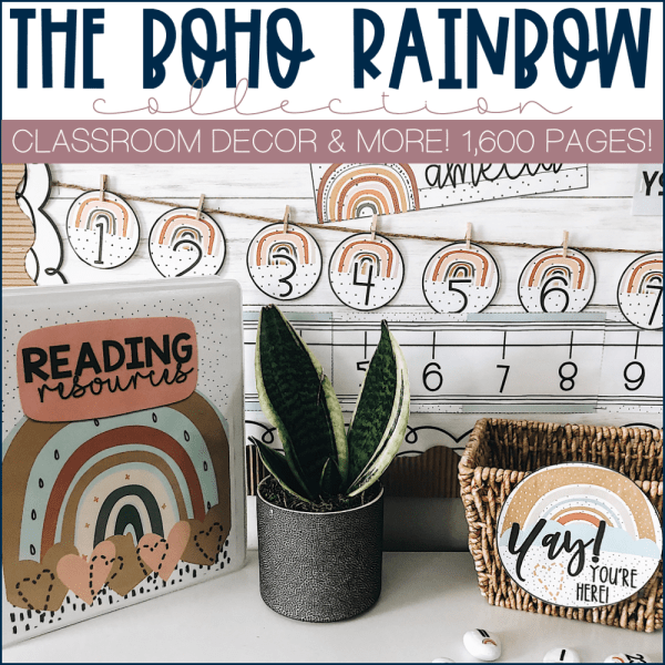 Example of Boho Rainbow Classroom Decor