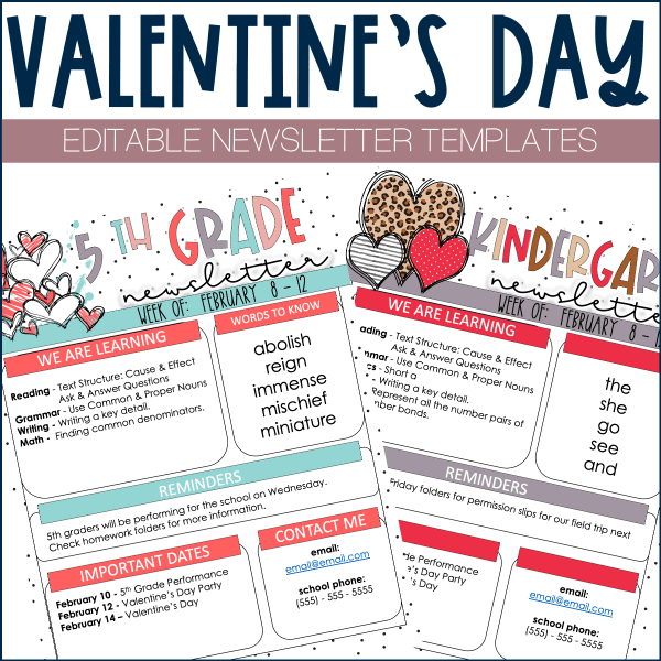 valentine's day newsletter template example