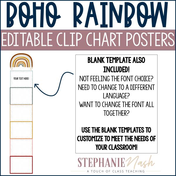 Boho Rainbow Behavior Clip Chart Example