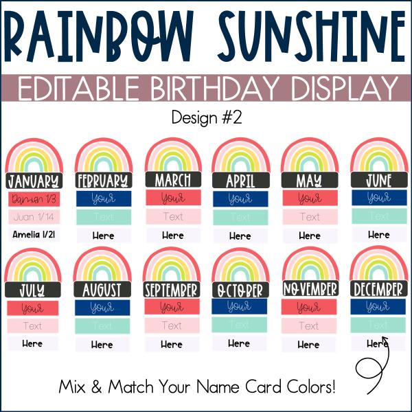 Rainbow Birthday Display Example