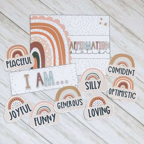 An example of affirmations and headers you can utilize in an affirmation station in your classroom.