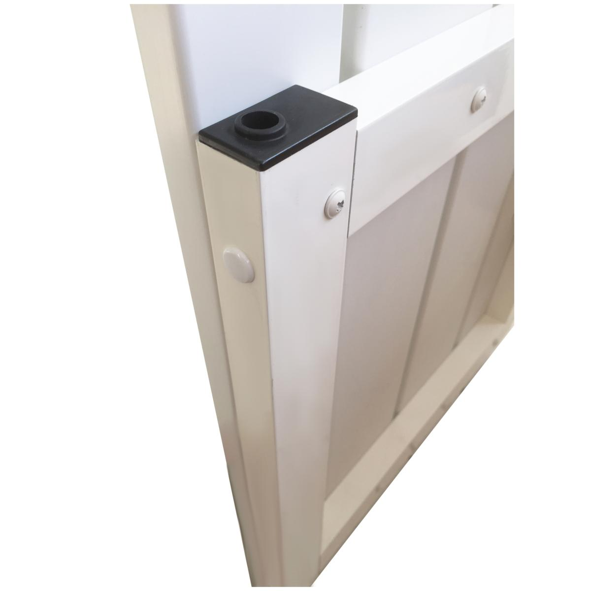 portillon en kit a lames pvc 130 mm et cadre aluminium blanc