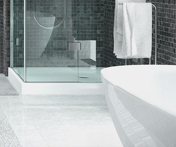 pose d un carrelage de sol de salle de bain
