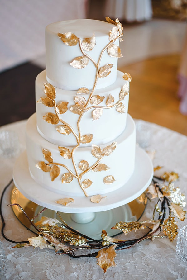 wedding cake mariage chic couleur or et feuillages mariage automne inspiration