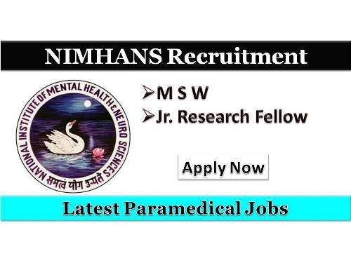 Latest NIMHNS Recruitment 2018