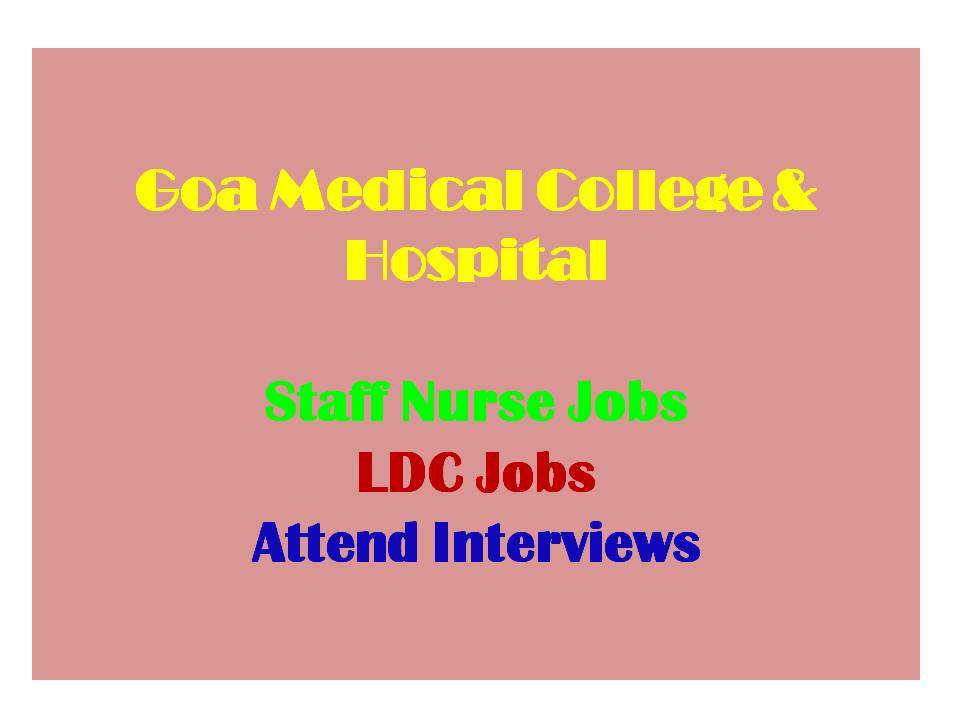 GMC Goa Nursing Recruitment
