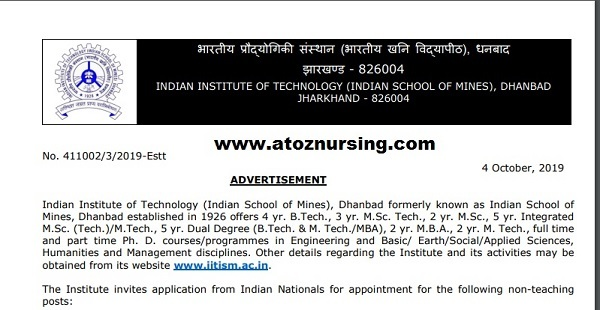 IIT Dhanbad Recruitment 2019
