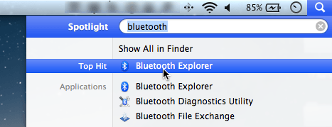 Use Spotlight to quickly open the Bluetooth Explorer